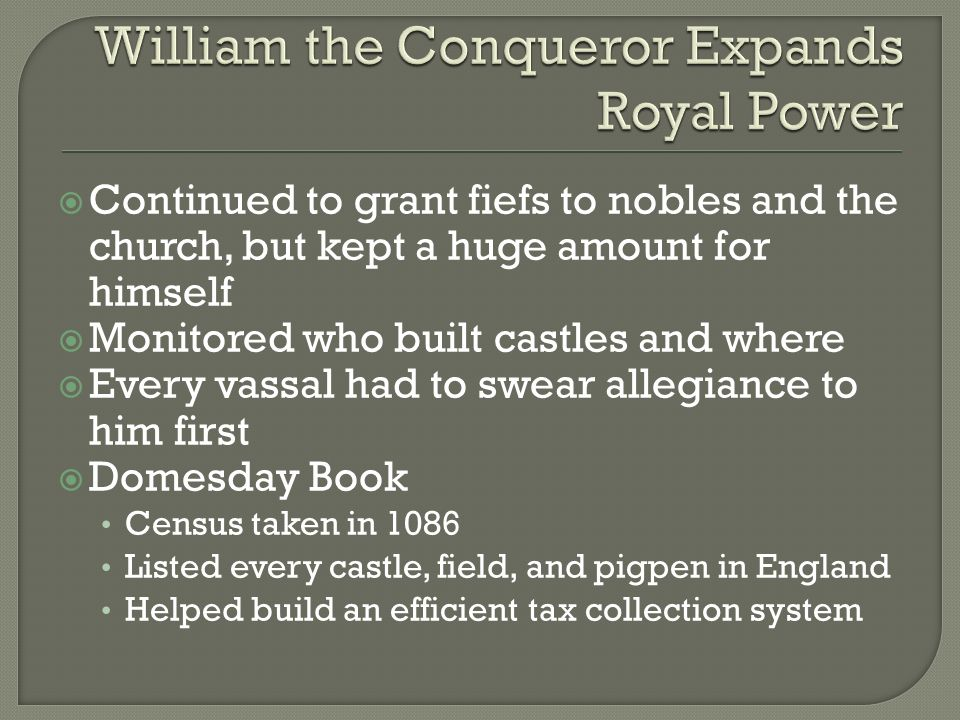 William the Conqueror Expands Royal Power