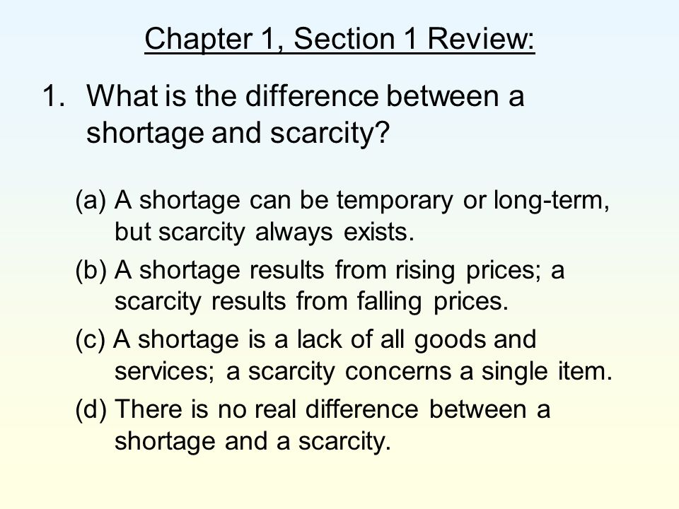 Chapter 1, Section 1 Review: