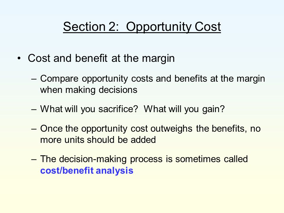 Section 2: Opportunity Cost