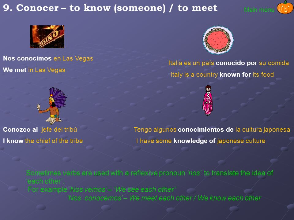 9. Conocer – to know (someone) / to meet