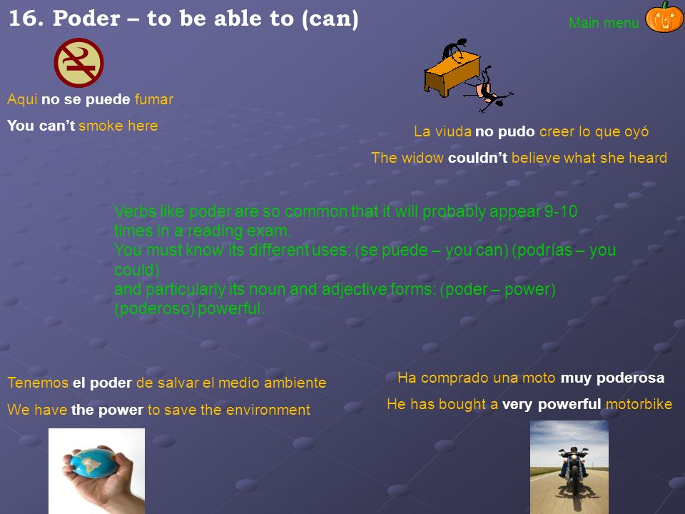 16. Poder – to be able to (can)