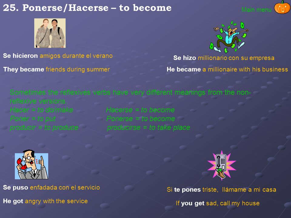 25. Ponerse/Hacerse – to become
