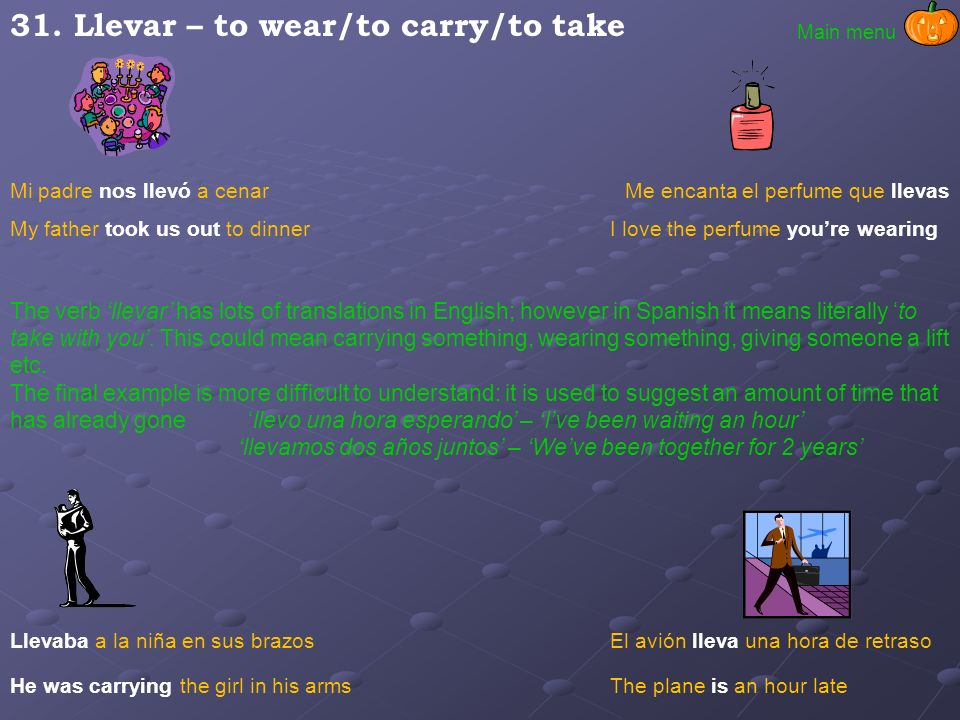 31. Llevar – to wear/to carry/to take