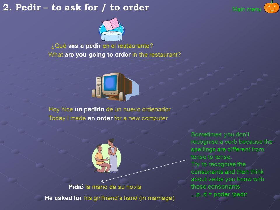 2. Pedir – to ask for / to order