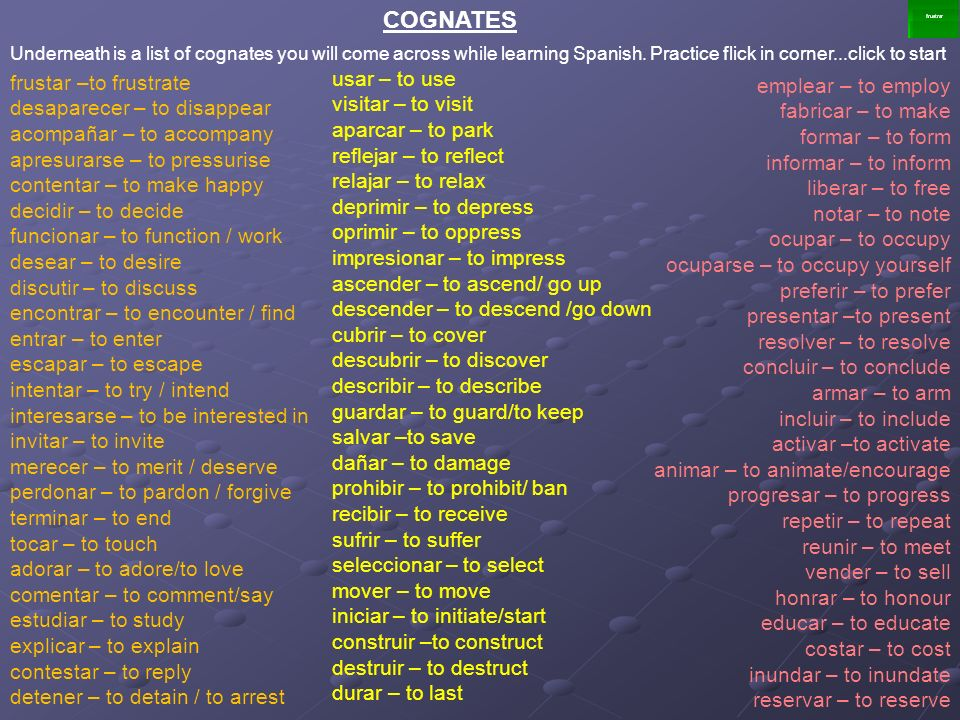 COGNATES Underneath is a list of cognates you will come across while learning Spanish. Practice flick in corner...click to start.