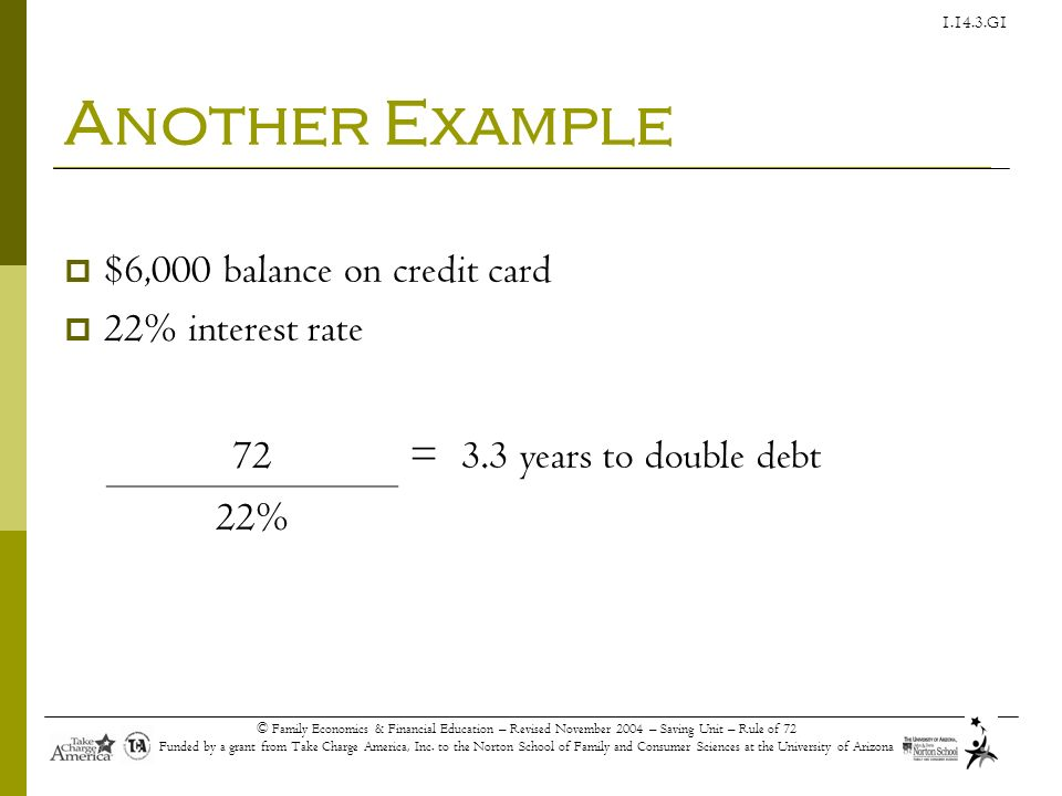 Another Example $6,000 balance on credit card 22% interest rate 72 =
