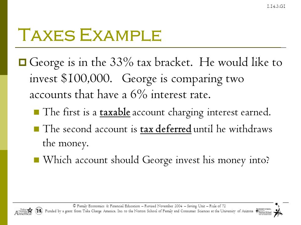 Taxes Example George is in the 33% tax bracket. He would like to invest $100,000. George is comparing two accounts that have a 6% interest rate.