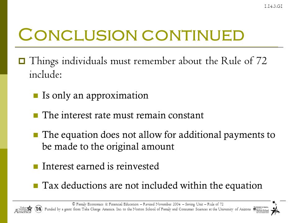 Conclusion continued Things individuals must remember about the Rule of 72 include: Is only an approximation.