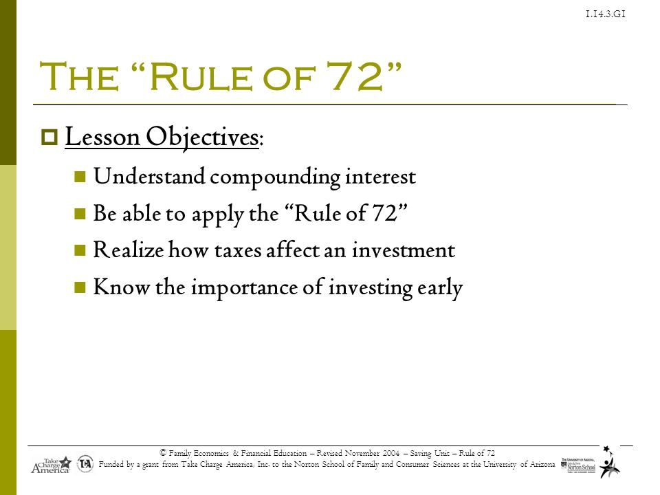 The Rule of 72 Lesson Objectives: Understand compounding interest