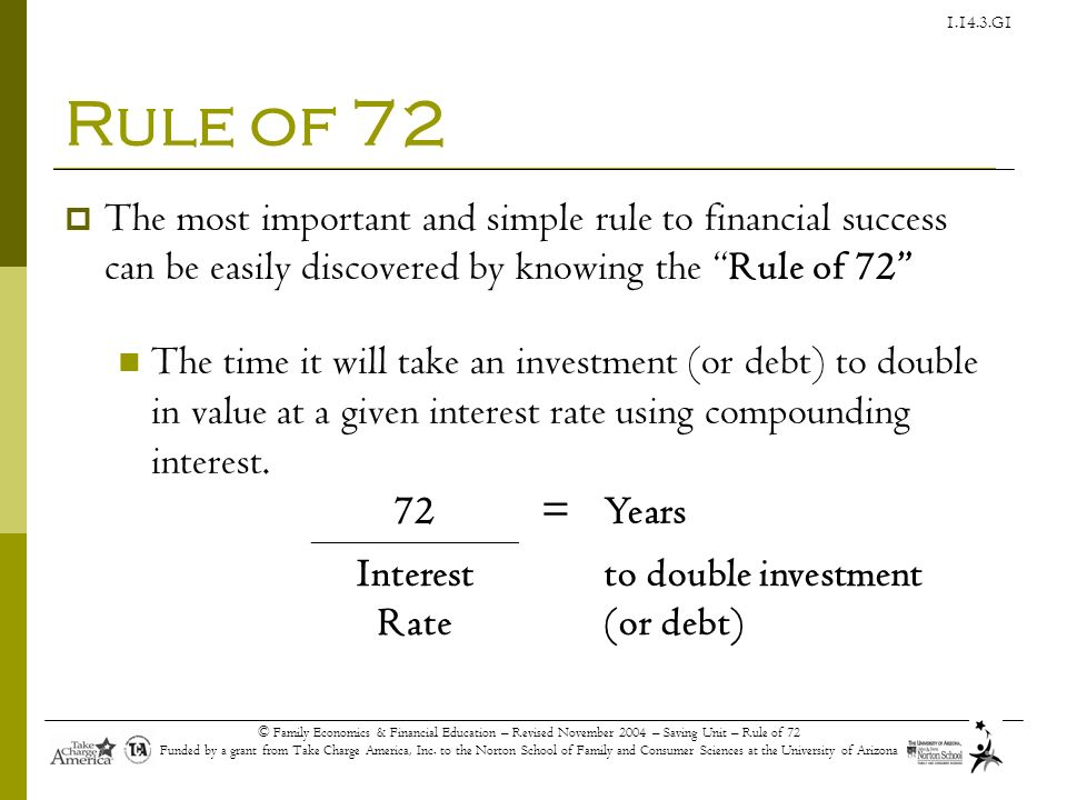 Rule of 72 The most important and simple rule to financial success can be easily discovered by knowing the Rule of 72