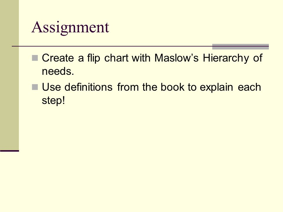 Assignment Create a flip chart with Maslow's Hierarchy of needs.
