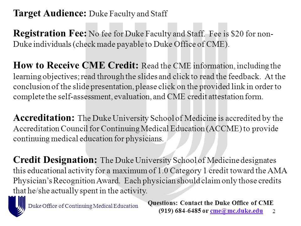 Duke Office of Continuing Medical Education presents: A case-based