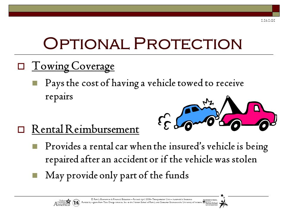 Optional Protection Towing Coverage Rental Reimbursement