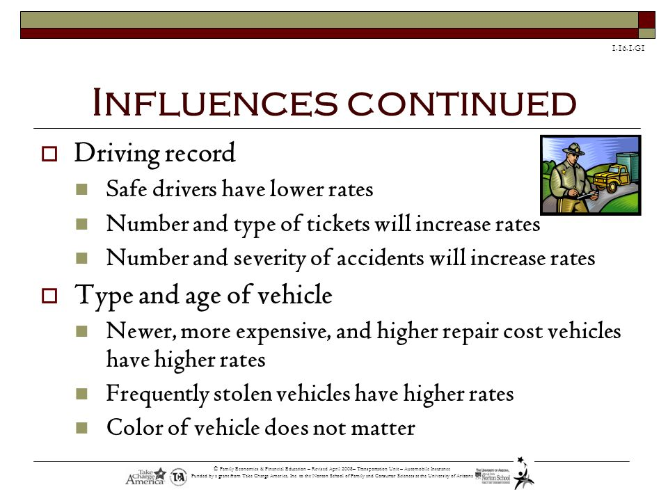 Influences continued Driving record Type and age of vehicle
