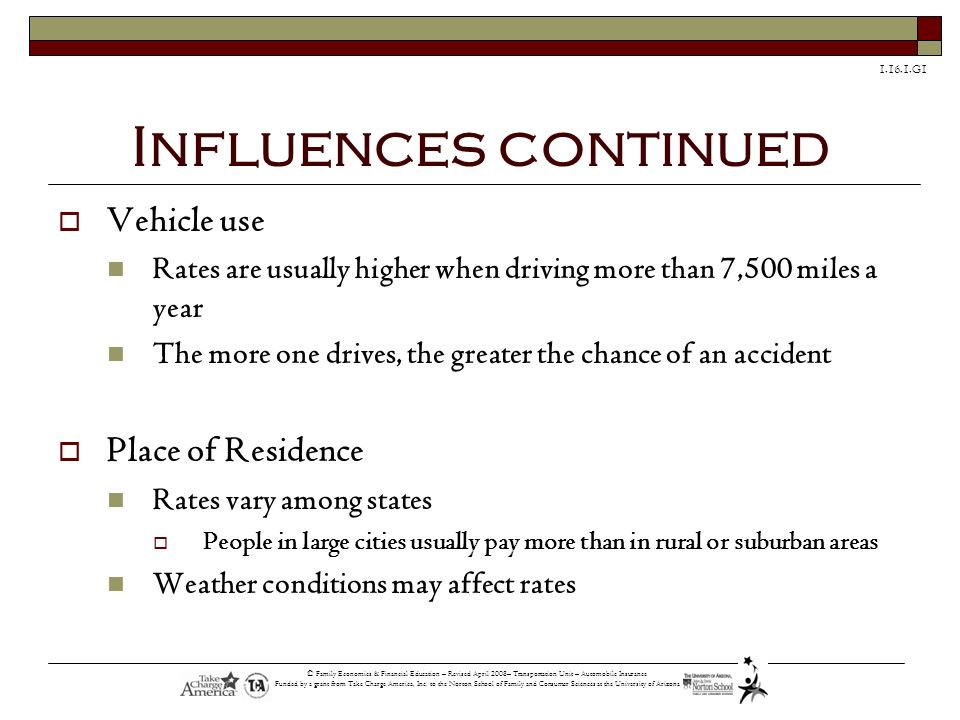 Influences continued Vehicle use Place of Residence
