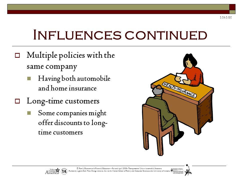 Influences continued Multiple policies with the same company