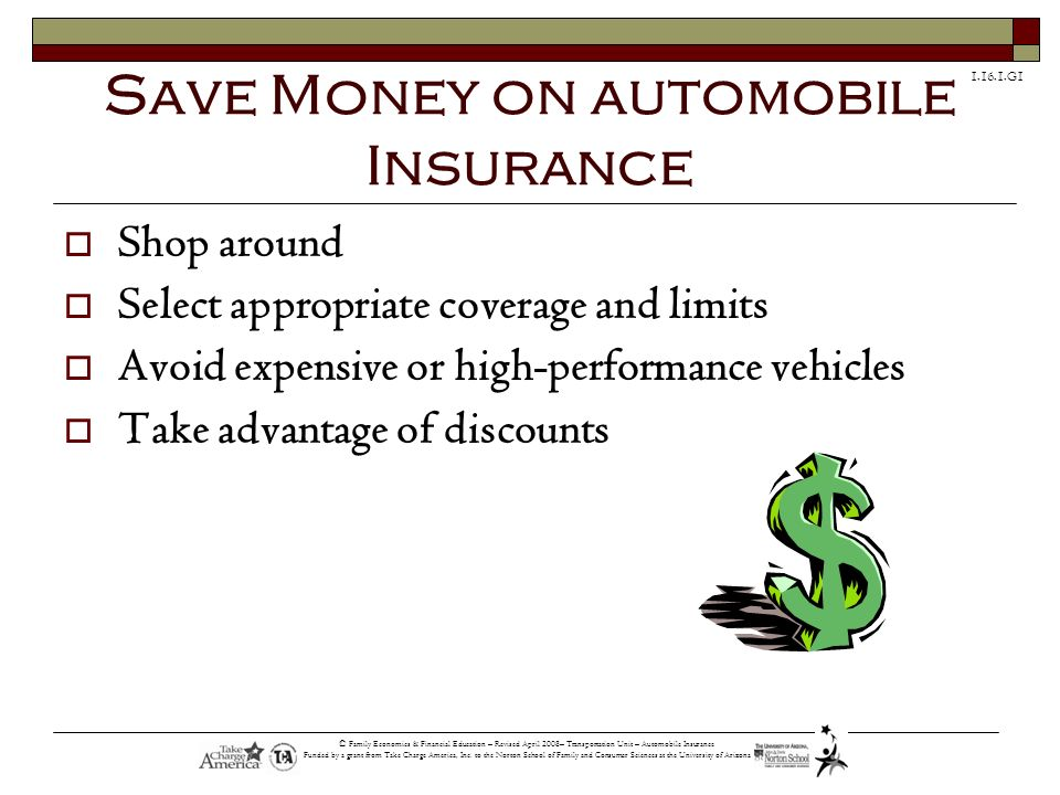 Save Money on automobile Insurance
