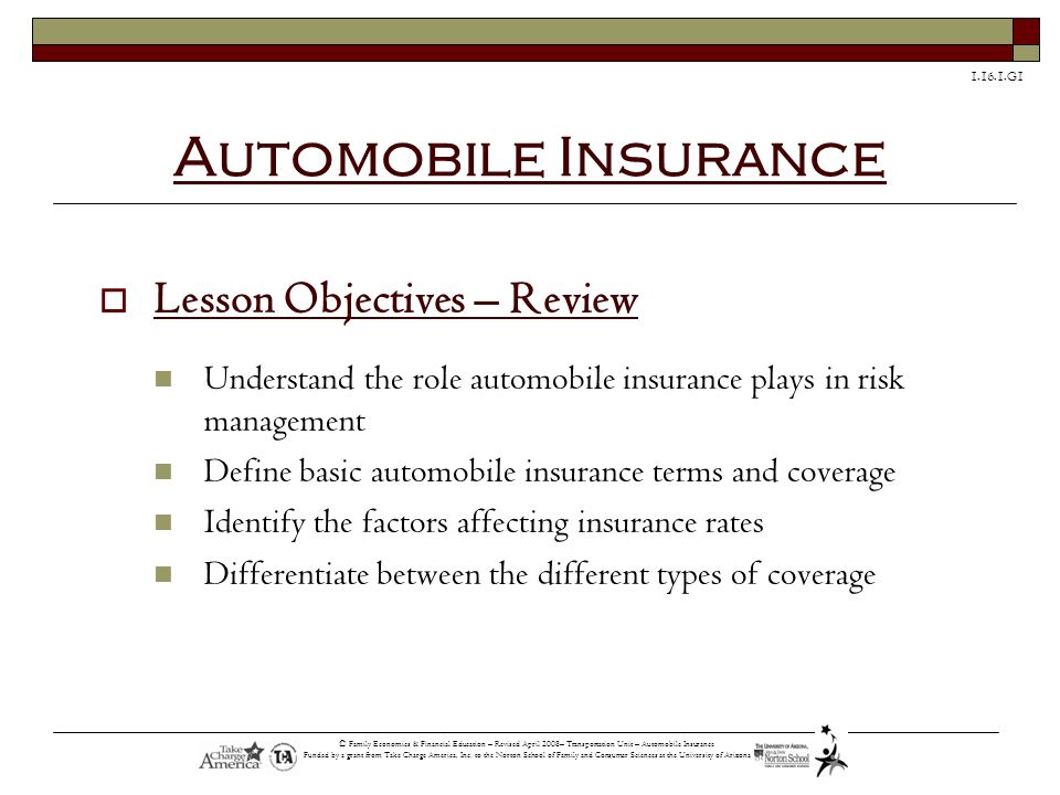 Automobile Insurance Lesson Objectives – Review