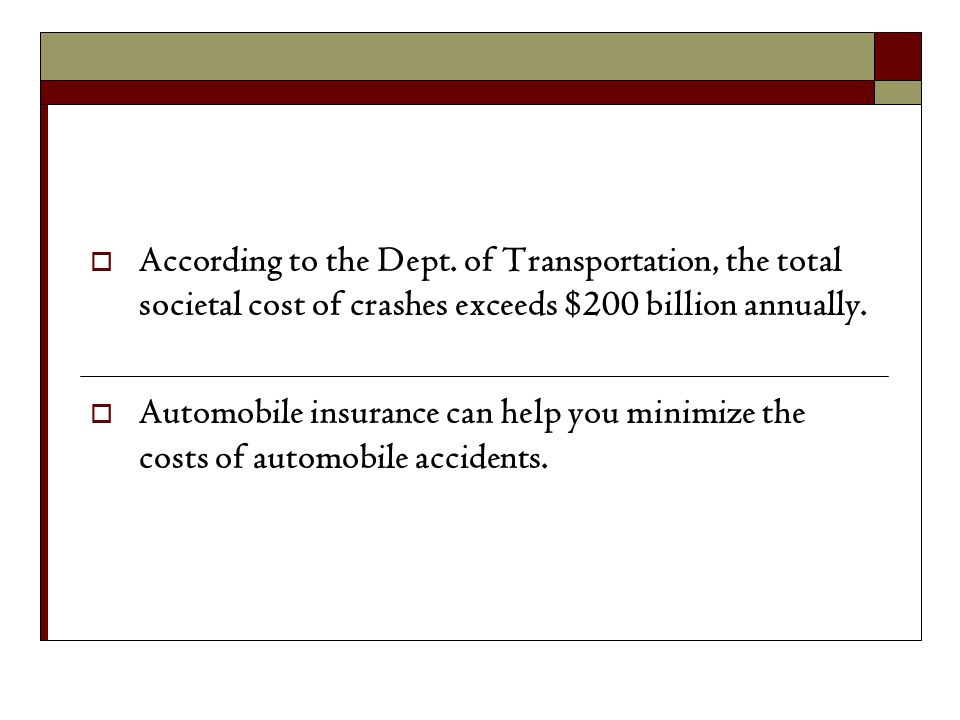 According to the Dept. of Transportation, the total societal cost of crashes exceeds $200 billion annually.