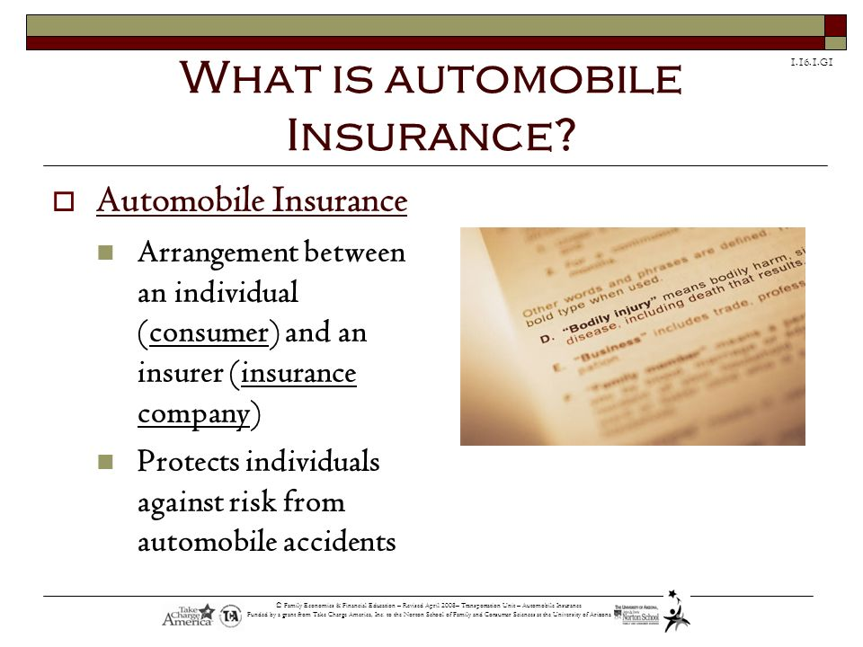 What is automobile Insurance
