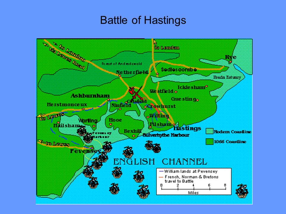 Battle of Hastings Normans build castles to control towns and other strategic posts along way. and later throughout England.