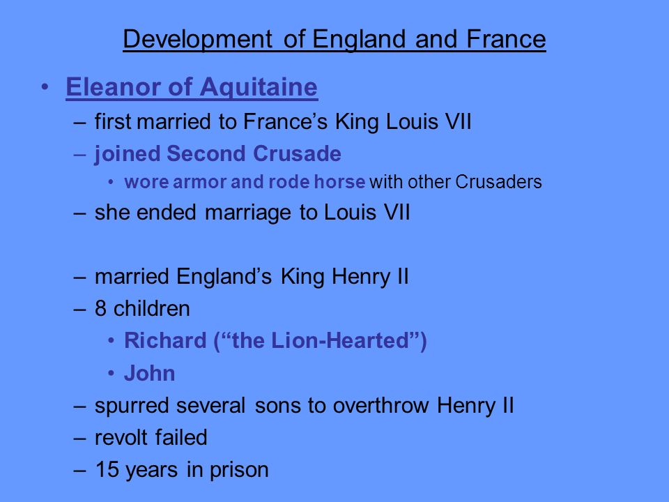 Development of England and France