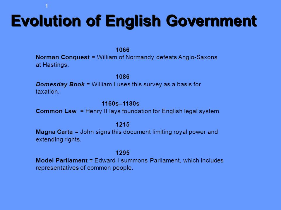Evolution of English Government