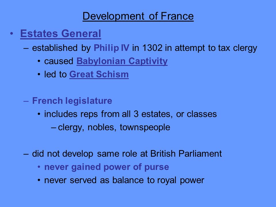 Development of France Estates General