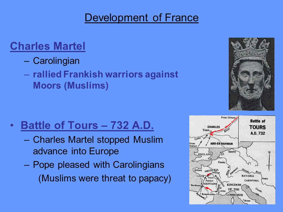 Development of France Charles Martel Battle of Tours – 732 A.D.