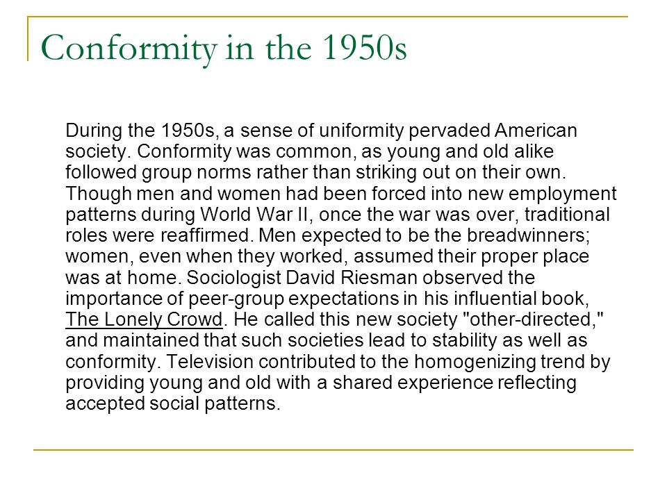 Conformity in the 1950s