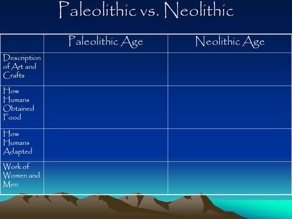 Paleolithic vs. Neolithic
