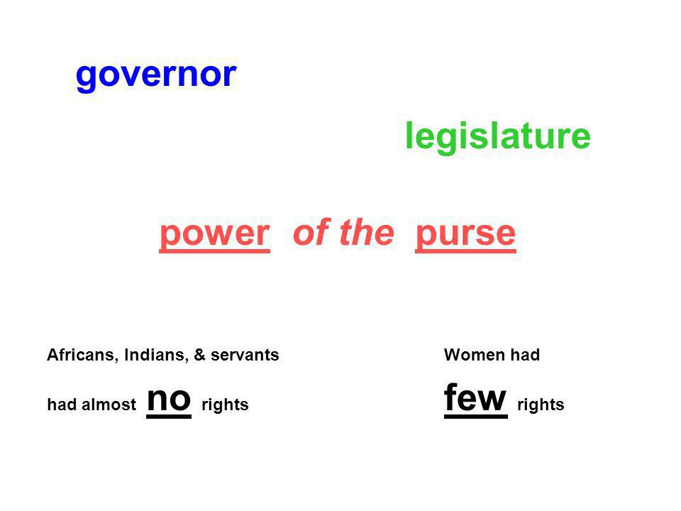 governor legislature power of the purse few rights