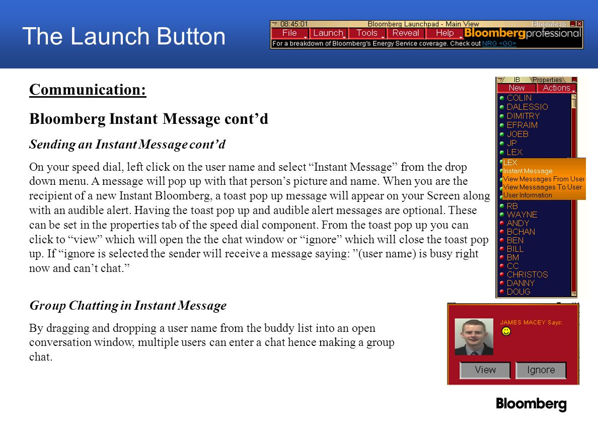 Launchpad blpgo ppt download the launch button communication bloomberg instant message contd 1betcityfo Image collections