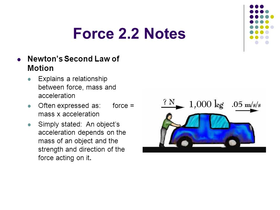 Force 2.2 Notes Newton's Second Law of Motion
