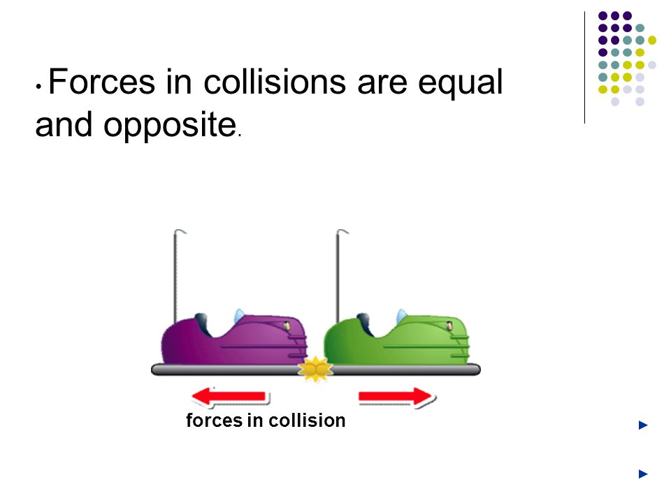 • Forces in collisions are equal and opposite.