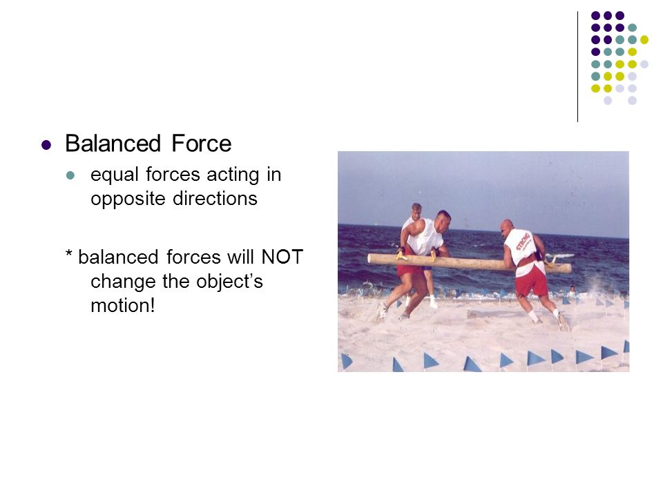 Balanced Force equal forces acting in opposite directions