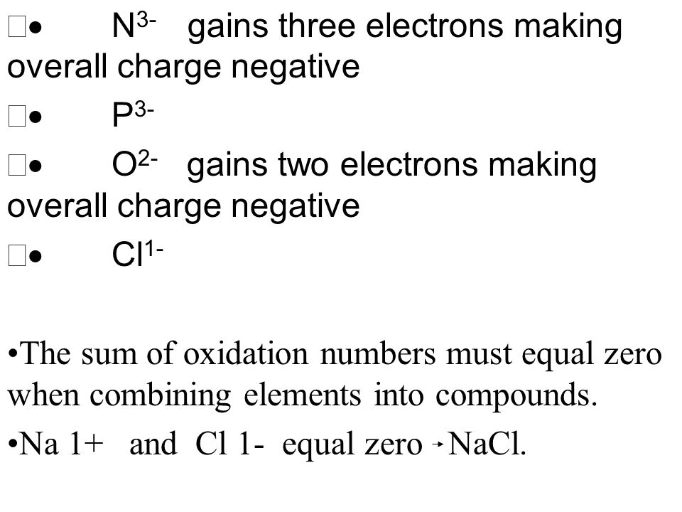 · N3- gains three electrons making overall charge negative