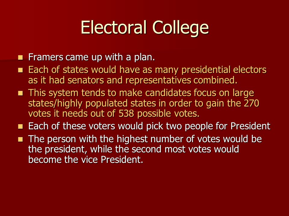 Electoral College Framers came up with a plan.