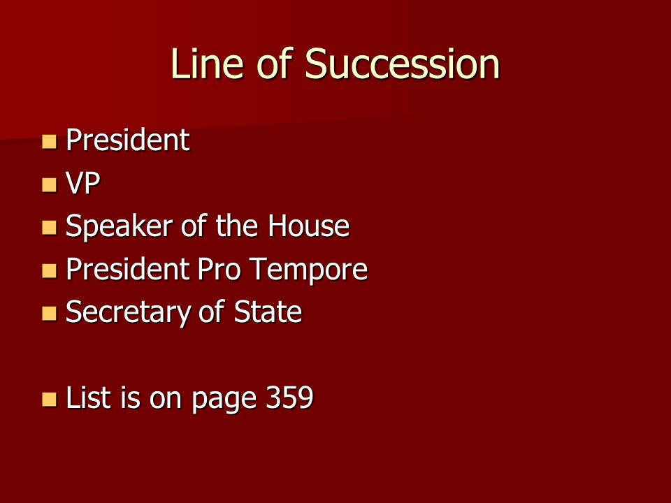 Line of Succession President VP Speaker of the House