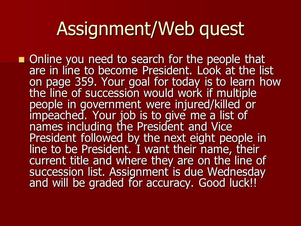 Assignment/Web quest