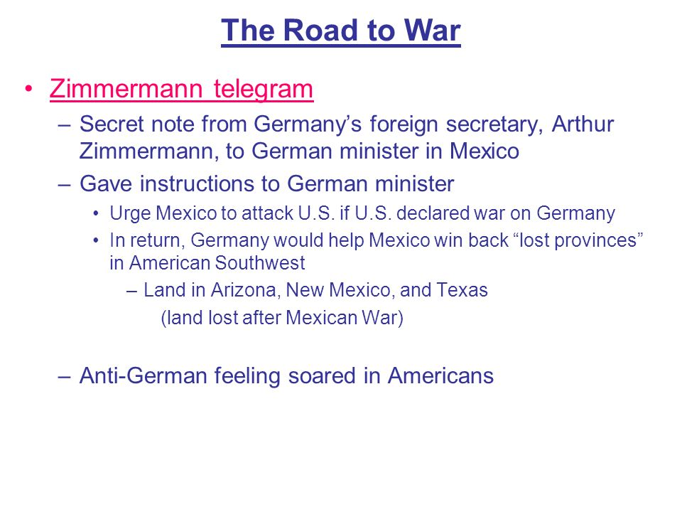 The Road to War Zimmermann telegram