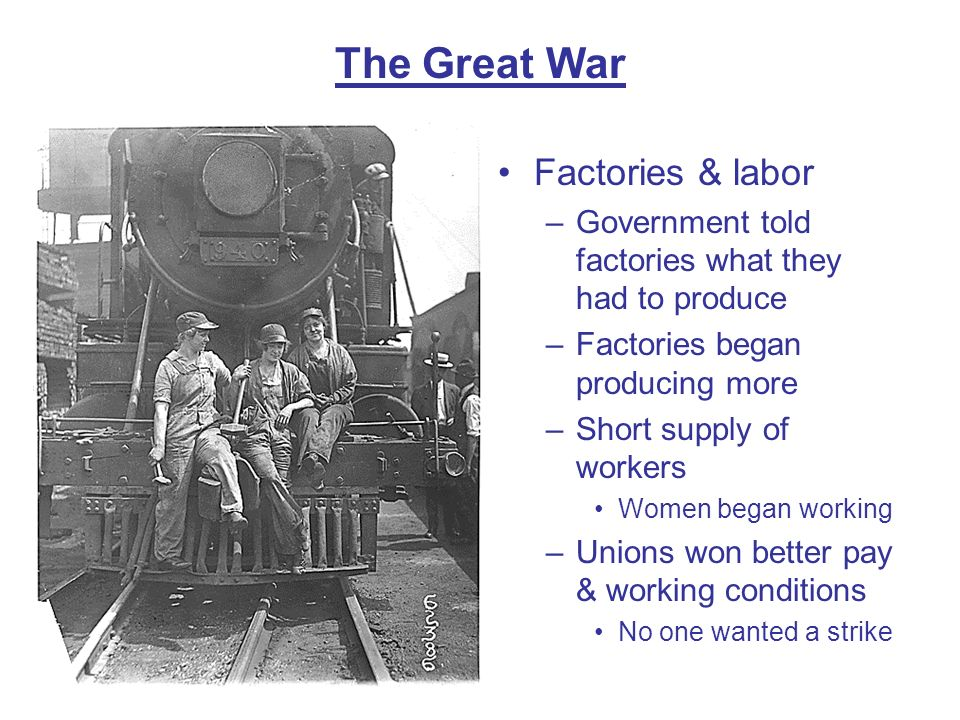 The Great War Factories & labor
