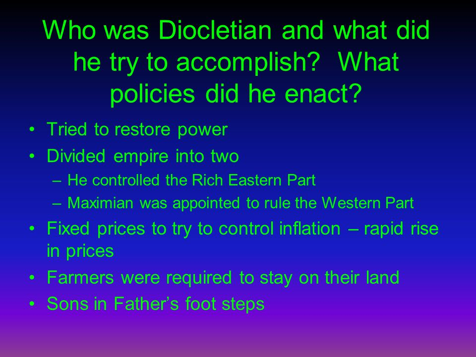 Who was Diocletian and what did he try to accomplish