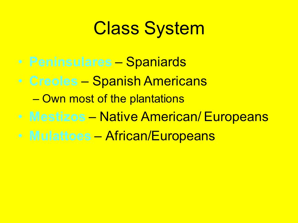 Class System Peninsulares – Spaniards Creoles – Spanish Americans