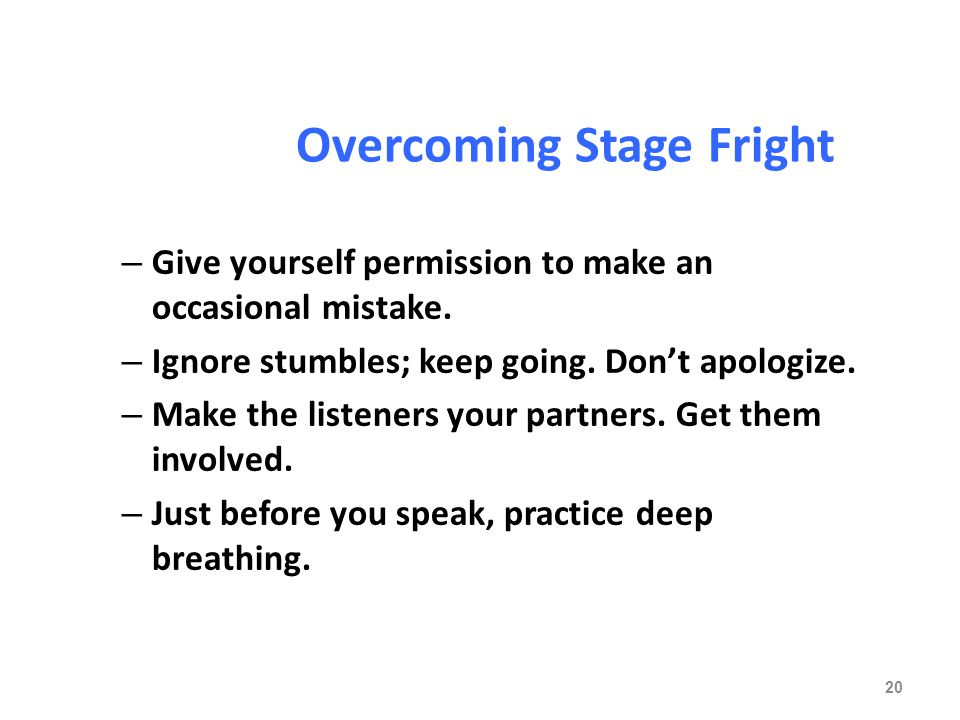 overcoming fear in making oral presentation The fear of public speaking is a common form of anxiety it has been estimated that 75% of all people experience some degree of anxiety or nervousness when it comes to public speaking read our guide to understand how you can overcome your fear of public speaking.