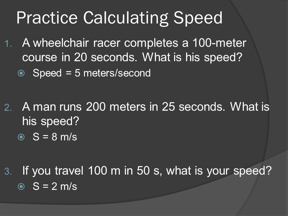 Practice Calculating Speed