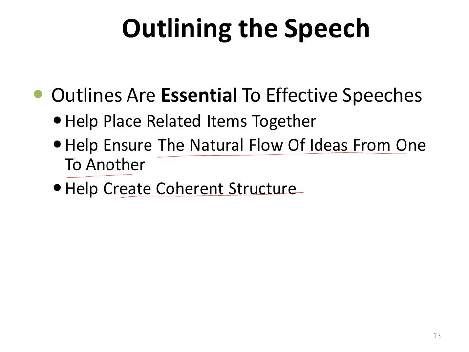 Outlining the Speech Outlines Are Essential To Effective Speeches