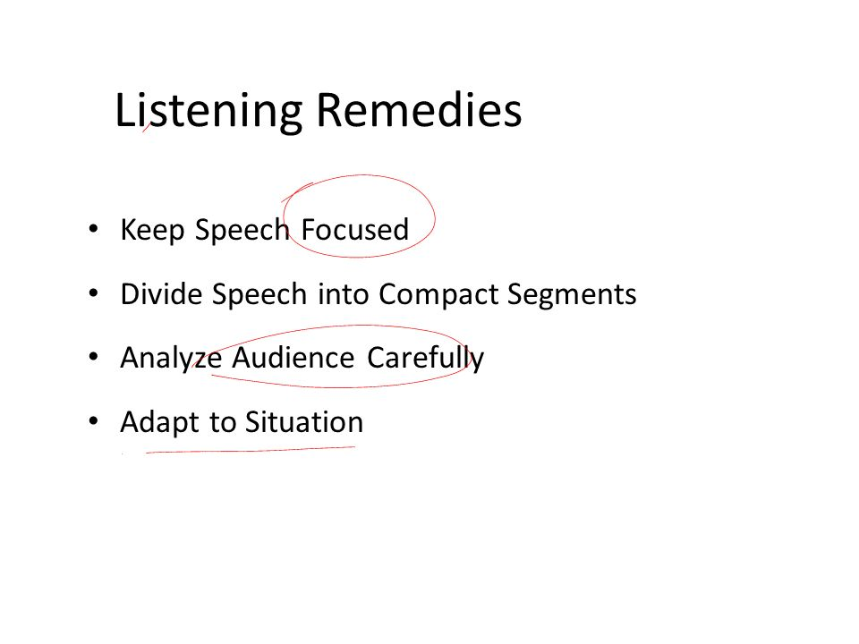 Listening Remedies Keep Speech Focused