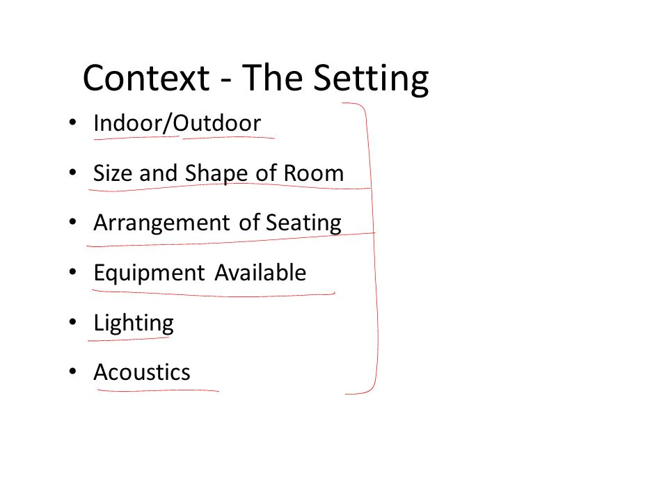Context - The Setting Indoor/Outdoor Size and Shape of Room