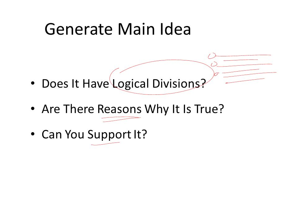 Generate Main Idea Does It Have Logical Divisions